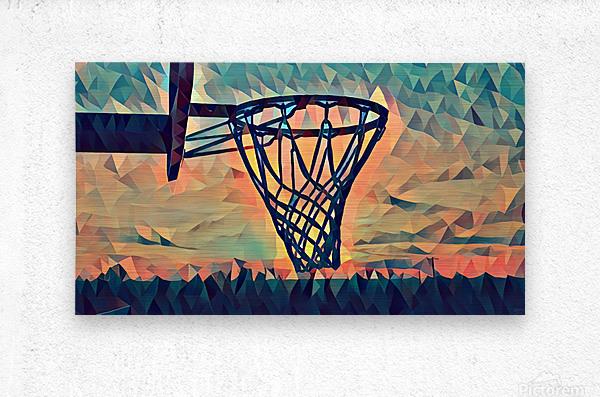basketball hoop sunset  Metal print