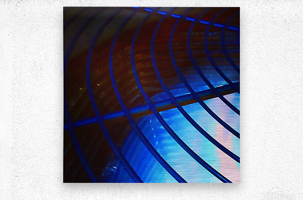 abstract blue curved lines  Metal print