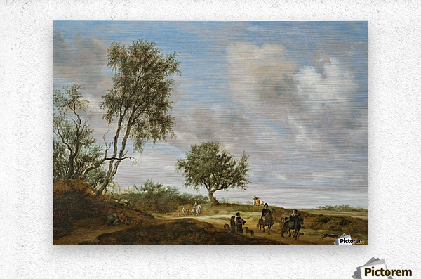 Landscape with a Hunting Party, 1648  Metal print