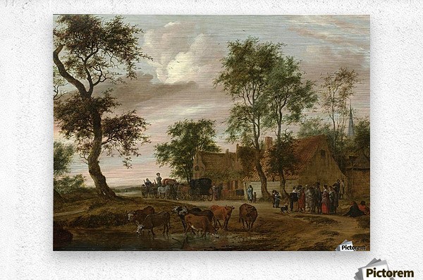 A village landscape with carriages outside an inn  Metal print