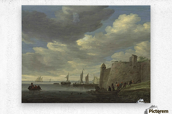A river estuary with figures pulling in their nets by a fort  Metal print