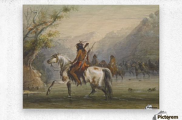Shoshone Indians - Fording a River  Metal print