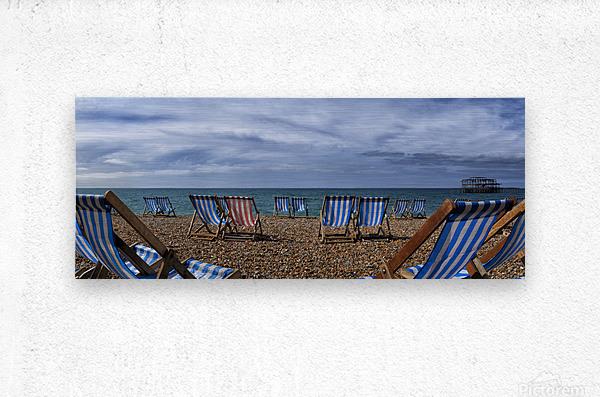 Deckchairs In Brighton  Metal print
