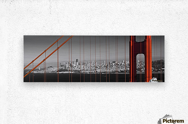 Golden Gate Bridge Panoramic Downtown View  Metal print