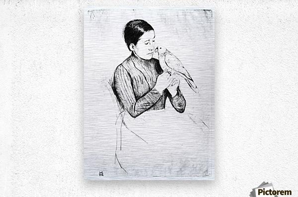 The parrot by Cassatt  Metal print