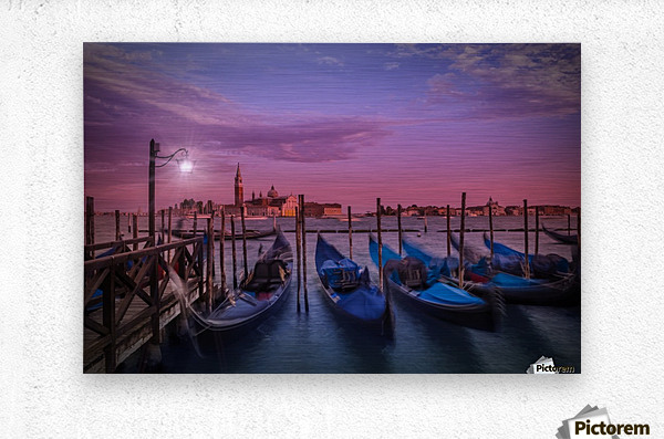VENICE Gondolas at Sunset  Metal print