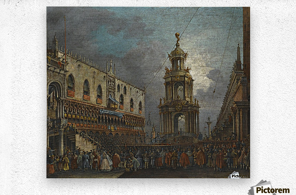 A view of the Piazzetta at Carnival, Venice  Metal print