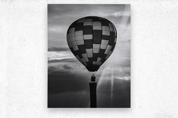 Hot Air Balloon On A Smokestack  Metal print
