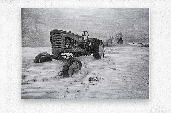 Winter Snow  Mountain Farm And Old Tractor  Metal print