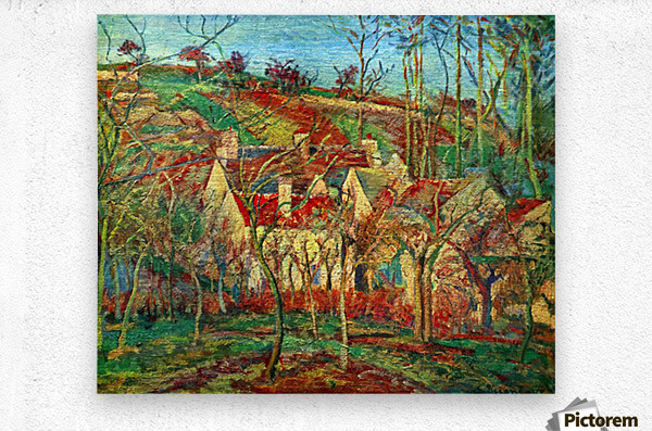 The red roofs by Pissarro  Metal print