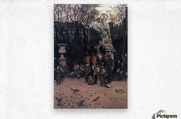 The return march in the Tuileries by Tissot  Metal print