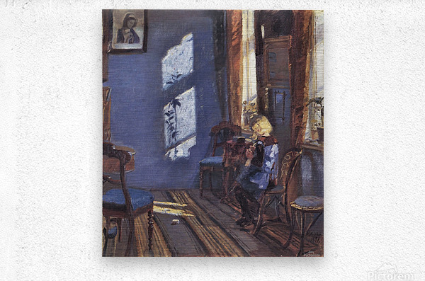 Sunshine in the blue room by Anna Ancher  Metal print