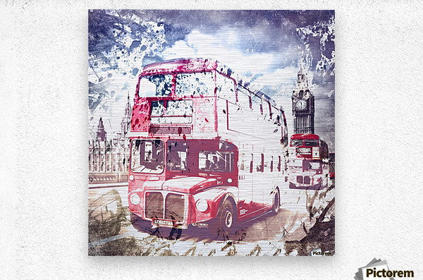 City-Art LONDON Red Buses on Westminster Bridge  Metal print