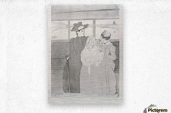 The streetcar by Cassatt  Metal print