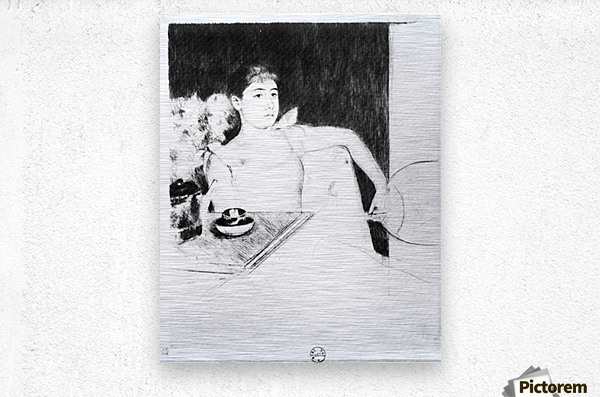 The Tea by Cassatt  Metal print