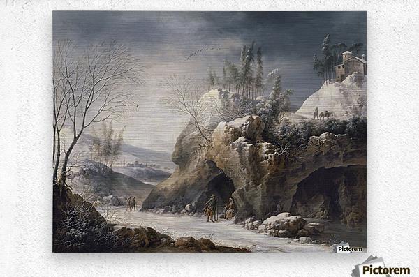 Paesaggio invernale con una famiglia di contadini  Metal print