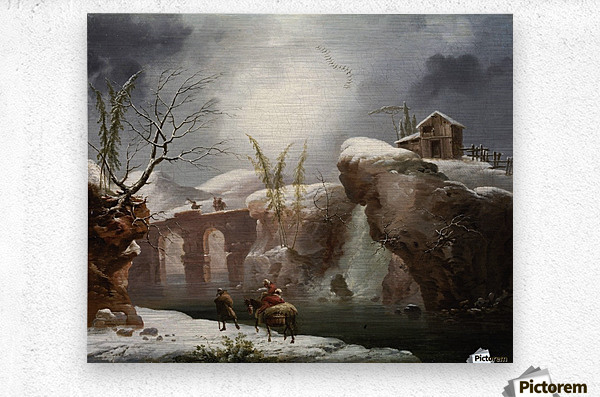A winter landscape with travellers by a river  Metal print