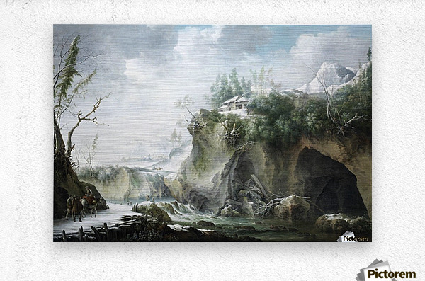 A River Landscape in Winter, With Travellers on a Snowy Path  Metal print