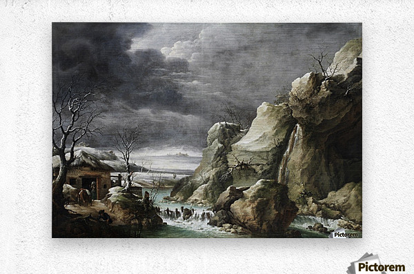 Travellers approaching a barn in a winter landscape, under a stormy sky  Metal print