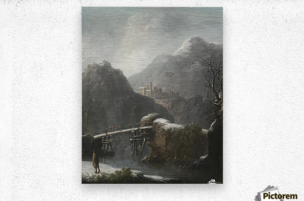 A winter landscape with travellers before a bridge, a Hilltop Town beyond  Metal print
