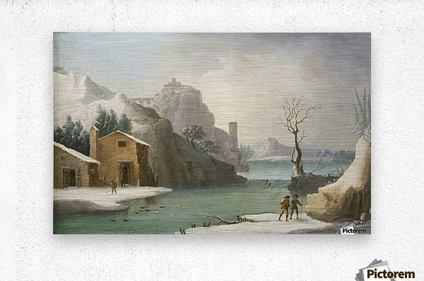 A winter landscape with travellers along a river, a Hilltop Town beyond  Metal print
