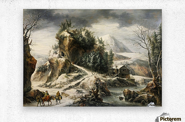 Winter landscape with a cavern and travellers  Metal print