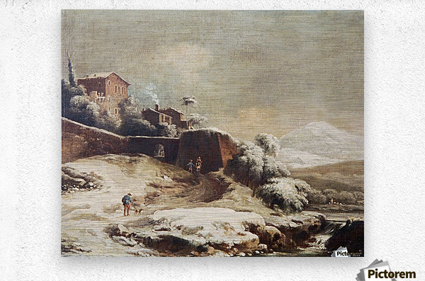 Winter landscape with village and mountains beyond  Metal print