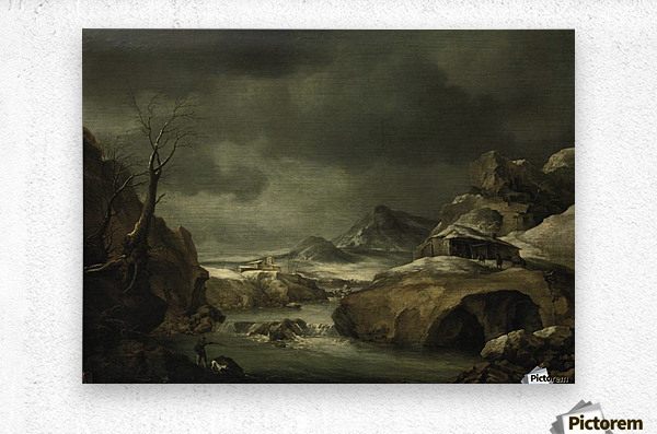 A mountainous winter landscape with a traveller arriving at a cottage  Metal print