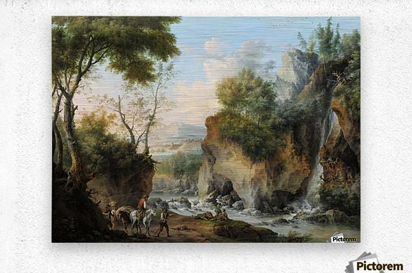 Landscape with figures along a river  Metal print