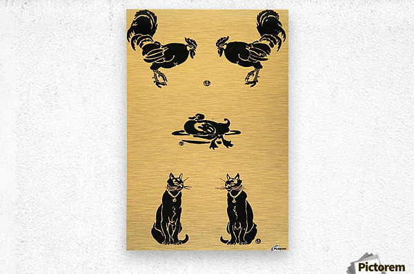 1913 Rooster Cock Duck Cats Edward Penfield Mini Poster  Metal print