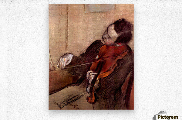 The violinist 1 by Degas  Metal print