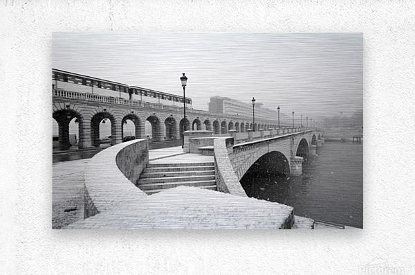 Paris under snow  Impression metal
