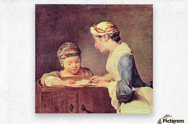 The young teacher by Jean Chardin  Metal print