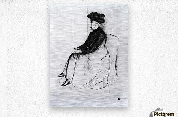 Thoughtfully by Cassatt  Metal print
