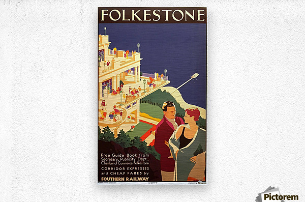 English Art Deco Period Travel Poster for Folkestone by Danvers, 1934  Metal print