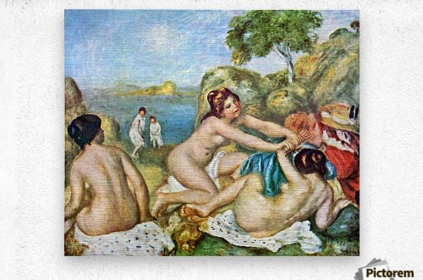 Three bathing girls with crab by Renoir  Metal print
