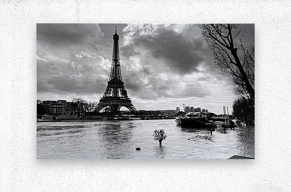 Eiffel tower flood  Impression metal
