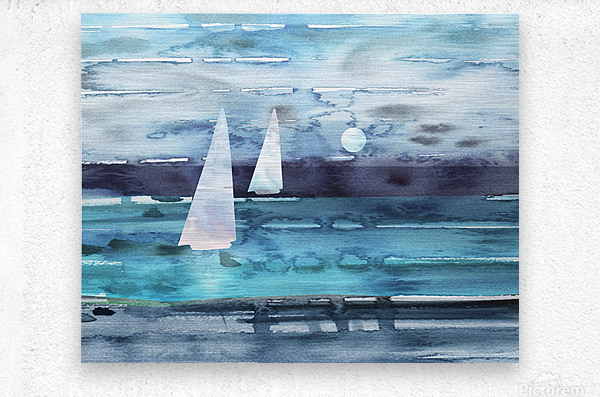Beach House Art Sailboats At The Ocean Shore Seascape Painting XII  Metal print