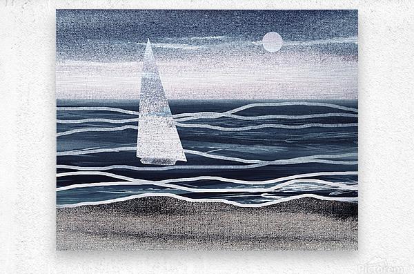 Beach House Art Sailboat At The Ocean Shore Seascape Painting XIII  Metal print
