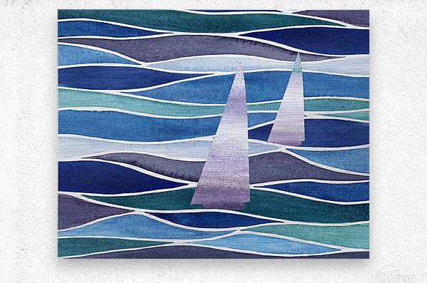 Sailboats At The Ocean Shore Seascape Painting Beach House Art Decor XIV  Metal print