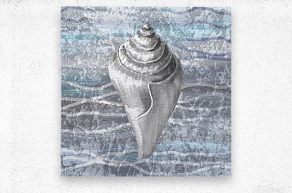 Silver Gray Seashell On Ocean Shore Waves And Rocks VII  Metal print