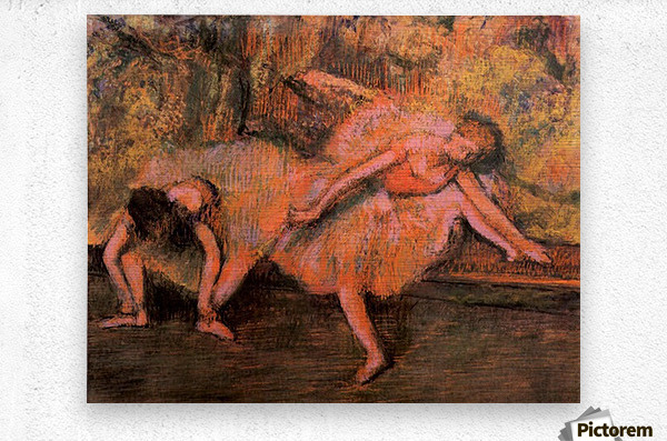 Two dancers on a bank by Degas  Metal print