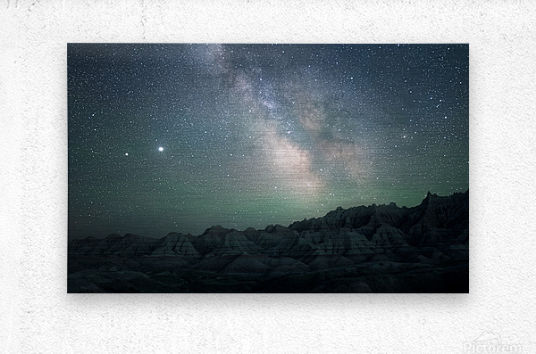 Milky Way Above The Badlands  Metal print