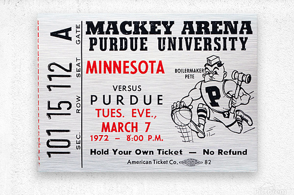 1972 Purdue Basketball Ticket Canvas  Metal print