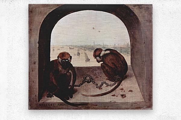 Two monkeys by Pieter Bruegel  Metal print