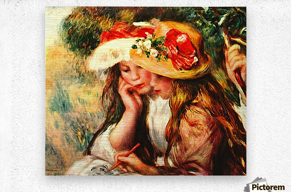 Two reading girls in a garden  Metal print