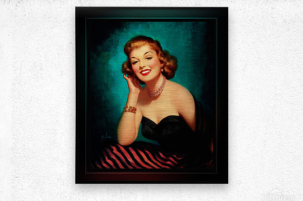 Evening Glamour Girl by Art Frahm Glamour Pin-up Vintage Art  Metal print