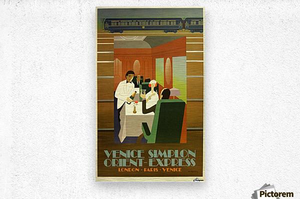 Travel Art Deco Style Poster - Venice Simplon Orient Express Railway  Metal print