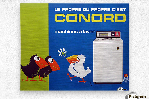 Original Appliance Poster, Conord Birds, 1960  Metal print