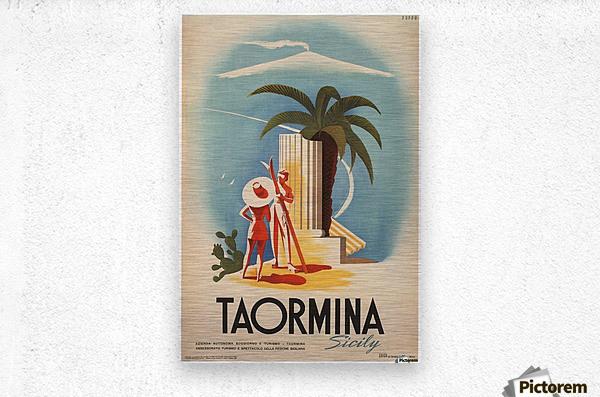 Taormina, Sicily Vintage Italian Travel Print  Metal print